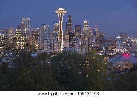 Seattle Skyline At A Blue Hour Washington State.