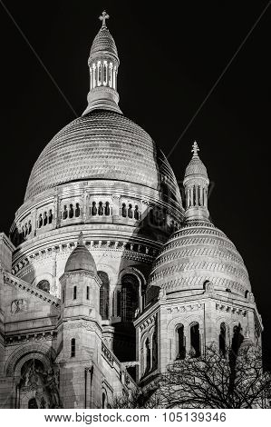 Sacré Coeur Basilica Illuminated At Night, Montmartre, Paris, France