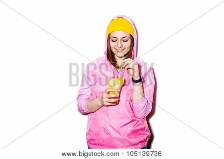Happy Young Woman Drinking Alcoholic Cocktail