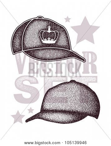 cap set isolated on white vector illustration