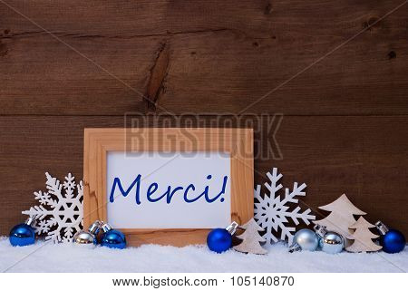 Blue Christmas Decoration, Snow, Merci Means Thank You