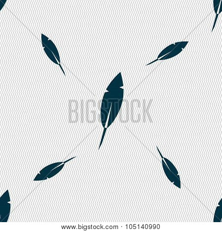 Feather Sign Icon. Retro Pen Symbo. Seamless Pattern With Geometric Texture. Vector
