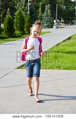 Cute Girl Go To School