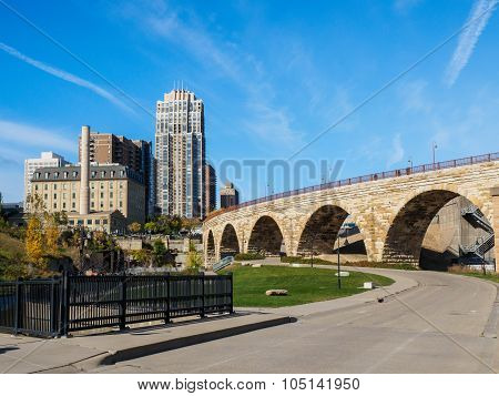 Stone Arch Bridge And Flour Mill Ruins