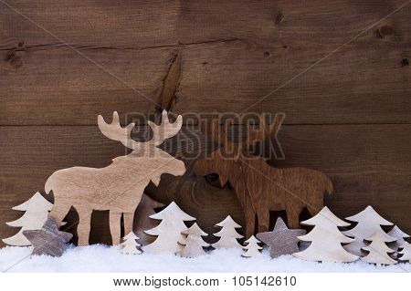 Christmas Decoration, Moose Couple In Love, Snow And Trees