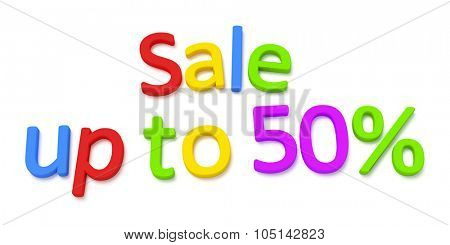 Some colorful magnetic letters building the words sale up to 50 percent