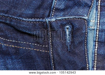 Closeup Detail Of Blue Denim