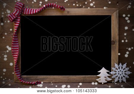 Chalkboard With Christmas Decoration, Snowflakes