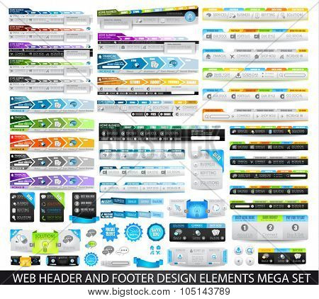 Mega Collection of Web headers, Footers, menu, drop menu, website icons, design elements for web pages, panels, buttons and so on.