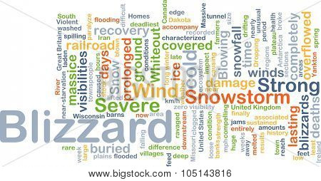 Background concept wordcloud illustration of blizzard