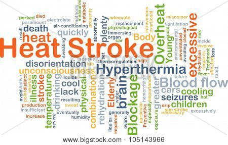 Background concept wordcloud illustration of heat stroke