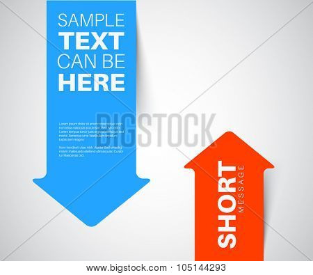 Blue and red vertical arrow bookmark with realistic shadow pointing at the content