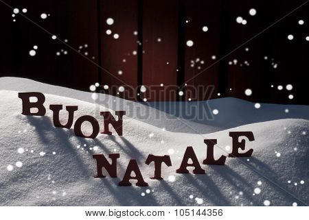 Card WithSnow, Buon Natale Means Merry Christmas, Snowflakes