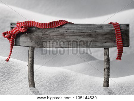 Gray Christmas Sign Copy Space Snow, Red Ribbon