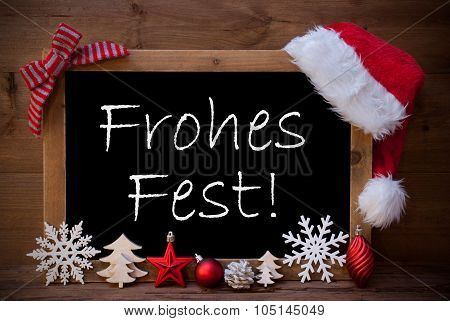 Brown Blackboard Santa Hat Frohes Fest Means Merry Christmas