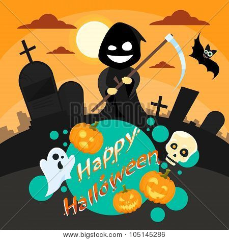 Halloween Cartoon Grim Reaper Smile Hold Scythe Banner Cemetery Graveyard Party Invitation Card