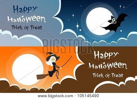 Flying Bat Vampire Halloween Banner Midnight Mood Sky Cloud Copy Space