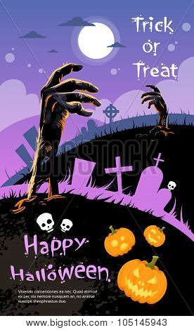 Halloween Banner Cemetery Graveyard Hand From Ground Party Invitation Card