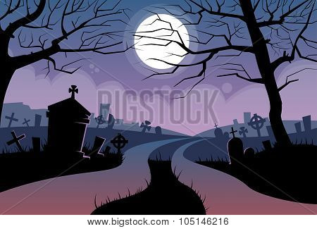 River Halloween Moon Cemetery Banner Graveyard Card