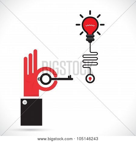 Businessman Hand And Key Sign With Creative Light Bulb Symbol.progression Of Idea Concept. Business