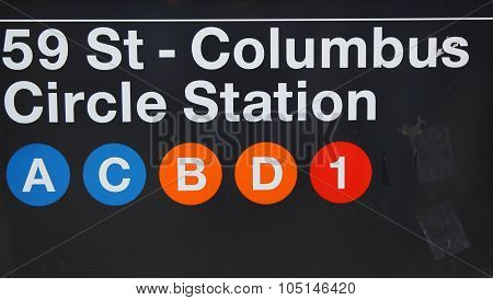 59 St - Columbus Circle Subway Station entrance in New York