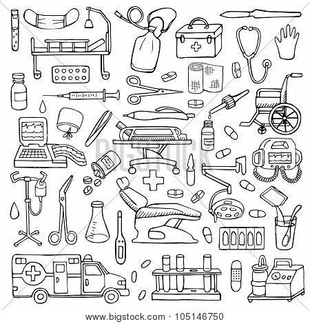 Medical  hand drawn doodle set