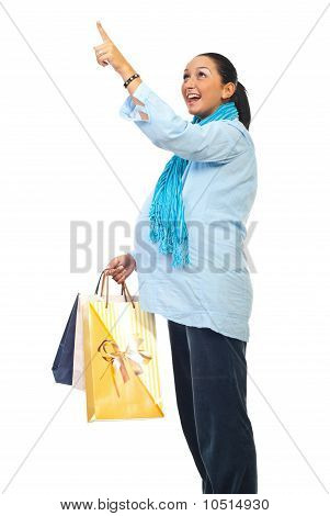 Surprised Pregnant Pointing At Shopping