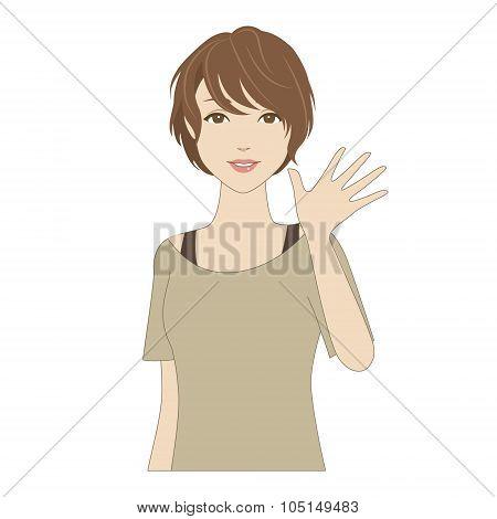 Smiling Woman Waving