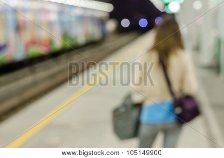 Women Waiting Abstract Blurred Electrical Sky Train Station In City