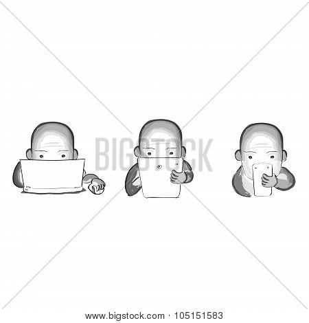 Person Use Laptop Phone Tablet, Hand Draw Sketch Digital Device Electronics Gadget Internet Communic
