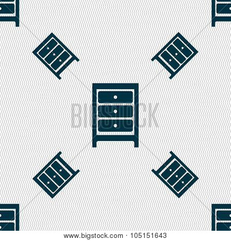 Nightstand Icon Sign. Seamless Pattern With Geometric Texture. Vector