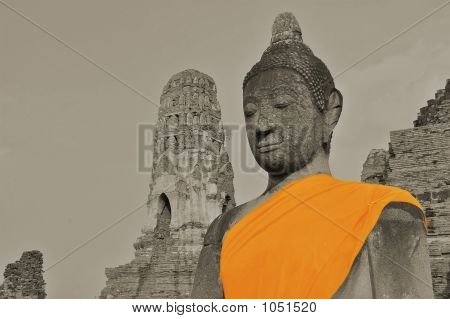 Buddha In Sepia With Orange Robe