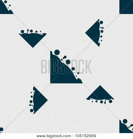 Rockfall Icon. Seamless Pattern With Geometric Texture. Vector