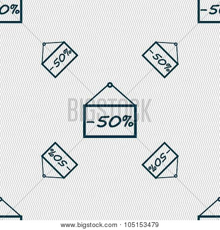 50 Discount Icon Sign. Seamless Pattern With Geometric Texture. Vector