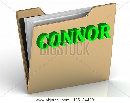 Connor- Bright Green Letters On Gold Paperwork Folder