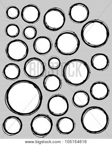 hand-drawn liquid line circle shape collection over gray