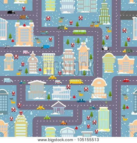 Winter City Seamless Pattern. Christmas In City. Map Real Estate And Transport. Skyscrapers And Peop