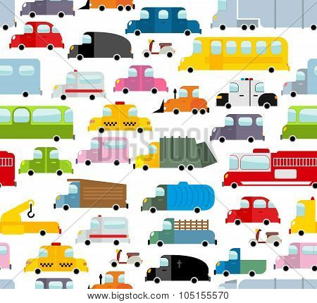Car Seamless Pattern. Background Of Transport In Cartoon Style. Many Small Toy Cars. Cute Transport