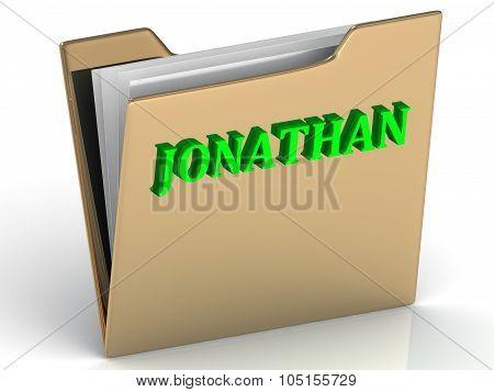 Jonathan- Bright Green Letters On Gold Paperwork Folder