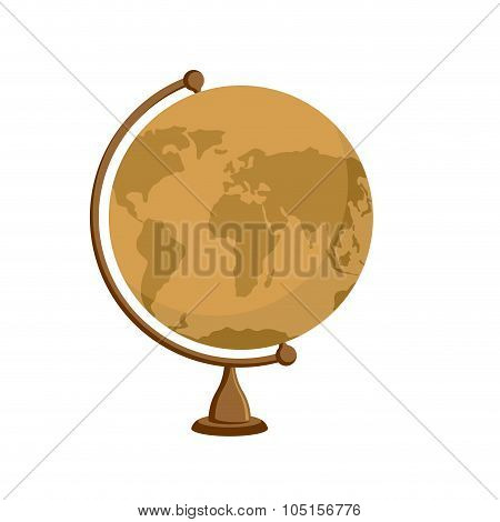 Planet Earth -  Ancient School Globe On Stand. Subject For  Study Of Geography. Antique Globe, Orang