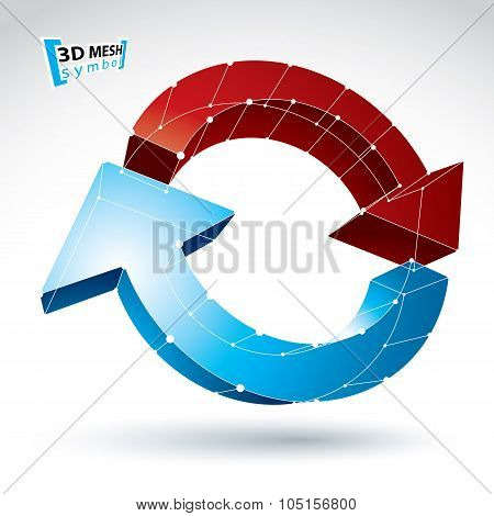 3D Mesh Update Sign Isolated On White Background, Lattice Colorful Reuse Icon, Dimensional Tech Refr