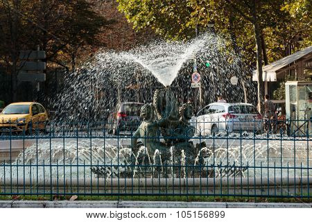 PARIS, FRANCE - SEPTEMBER 8, 2014: Paris - The fountain on the square of Edmund Rostand near by the Gardens of Luxembourg