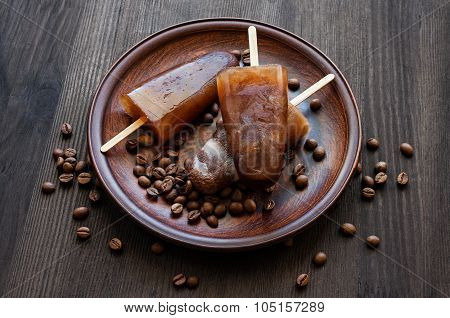 Homemade Ice Lolly With Coffee Beans