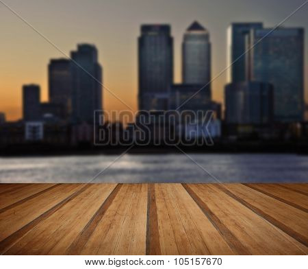 London City General Skyline At Night With Wooden Planks Floor