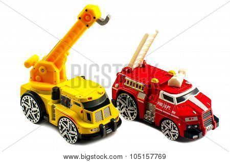 Small Toy Fire Engine And A Crane Cars