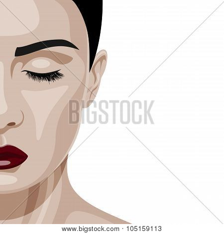 Face of beauty Woman with closed Eyes