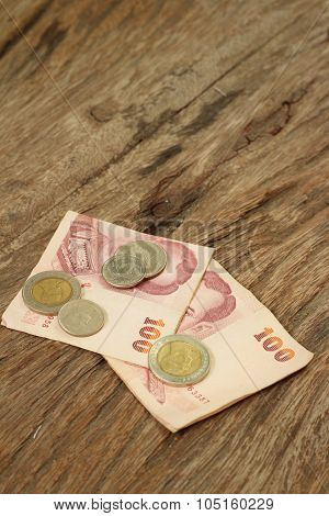 Thailand Baht Banknotes With Thailand Baht Coins.