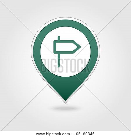 Road Signpost map pin icon