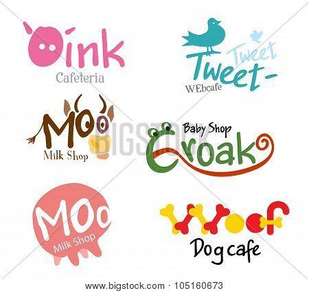 Set shop logo and the emblem of funny animals.