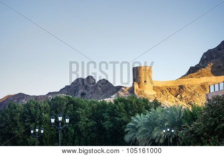 View of an ancient fort in the Muscat, Oman.